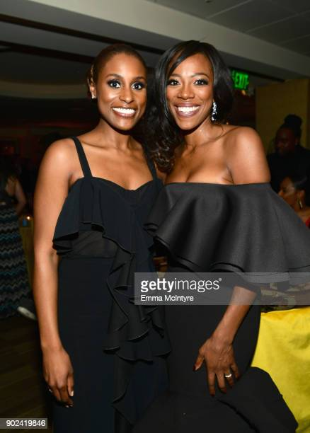 Actor/Producer Issa Rae and actor Yvonne Orji attend HBO's Official Golden Globe Awards After Party at Circa 55 Restaurant on January 7 2018 in Los...