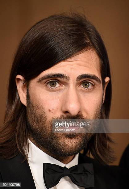 """Actor/producer Jason Schwartzman, winner of the award for Best Television Series - Musical or Comedy for """"Mozart in the Jungle,"""" poses in the press..."""