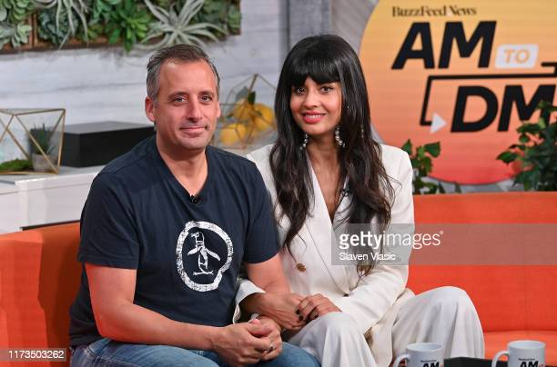 Actor/producer Joe Gatto and actress/host Jameela Jamil discuss TBS' The Misery Index at BuzzFeed's AM To DM on October 3 2019 in New York City
