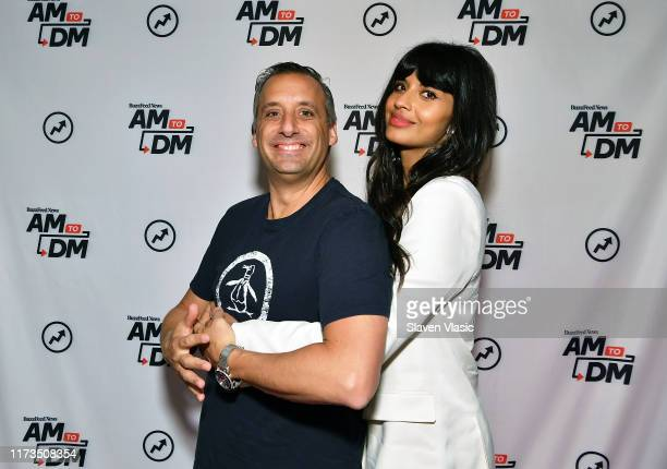 Actor/producer Joe Gatto and actress/host Jameela Jamil visit BuzzFeed's AM To DM to discuss TBS' The Misery Index on October 3 2019 in New York City