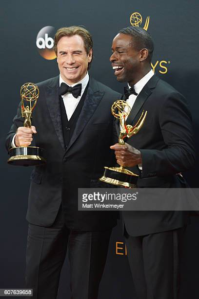 Actor/producer John Travolta winner of the Outstanding Limited Series award for 'The People vs OJ Simpson American Crime Story' and actor Sterling K...