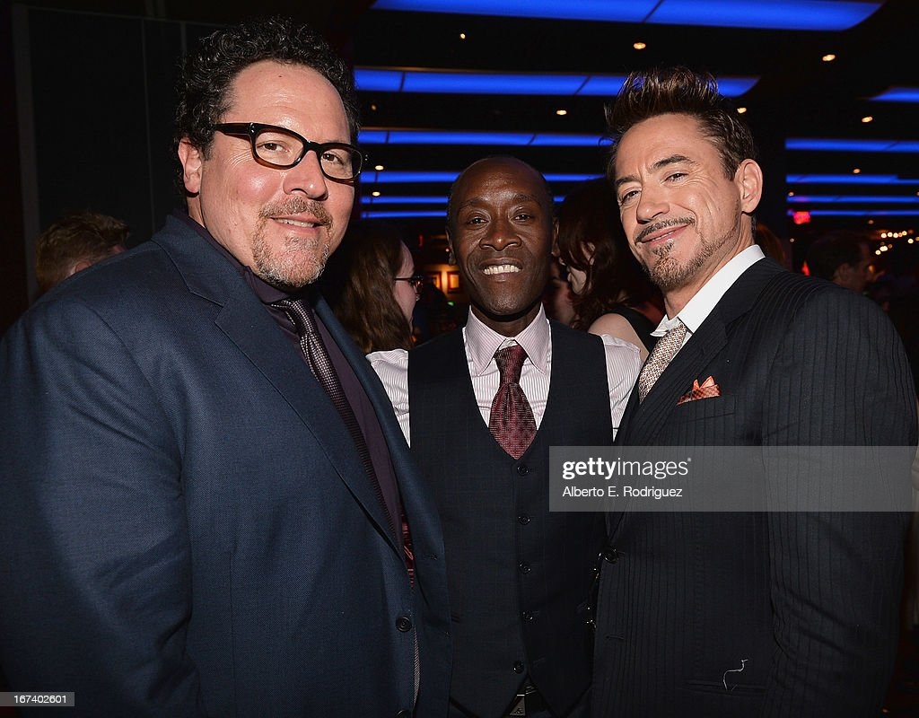 Actor/producer Jon Favreau, Don Cheadle and actor Robert Downey Jr. attend Marvel's Iron Man 3 Premiere after party at Hard Rock Cafe on April 24, 2013 in Hollywood, California.