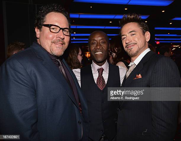 Actor/producer Jon Favreau Don Cheadle and actor Robert Downey Jr attend Marvel's Iron Man 3 Premiere after party at Hard Rock Cafe on April 24 2013...