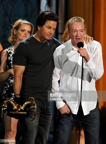 """Actor-producer Mark Wahlberg and boxing trainer Dicky Eklund accept the Guy Movie of the Year award for """"The Fighter"""" onstage during Spike TV's 5th..."""