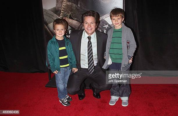 Actor/producer Mark Wahlberg and sons Michael Wahlberg and Brendan Wahlberg attend the 'Lone Survivor' New York premiere at Ziegfeld Theater on...