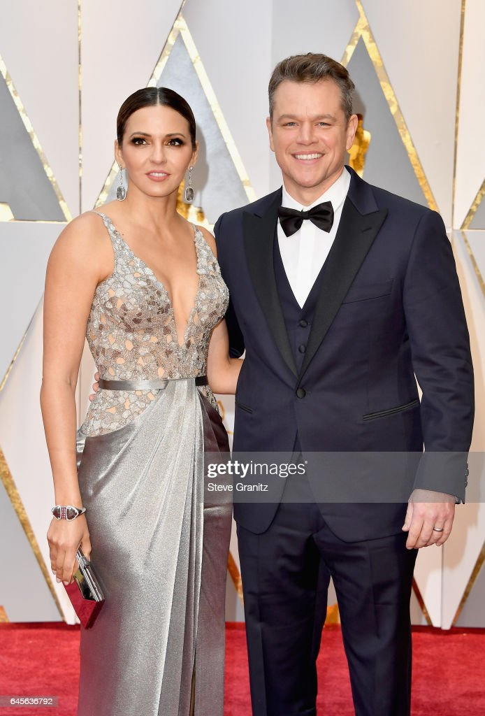 Actor/producer Matt Damon (R) and Luciana Damon attends the 89th Annual Academy Awards at Hollywood & Highland Center on February 26, 2017 in Hollywood, California.