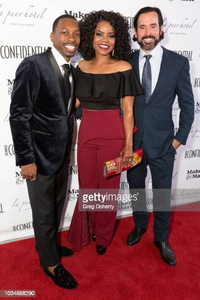 Actor/Producer Melvin Jackson Jr., Actress Kelly Jenrette and Modern Luxury Publisher Chris Gialanella attends the Los Angeles Confidential Emmys...