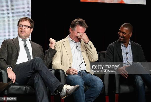 Actor/Producer Rainn Wilson Creator/Executive Producer Hart Hanson and Excecutive Producer Kevin Hooks speak onstage during the 'Backstrom' panel...