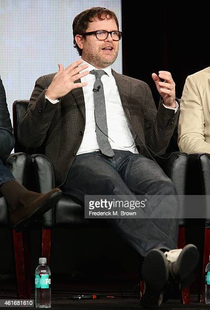 Actor/producer Rainn Wilson speaks onstage during the 'Backstrom' panel discussion at the FOX portion of the 2015 Winter TCA Tour at the Langham...