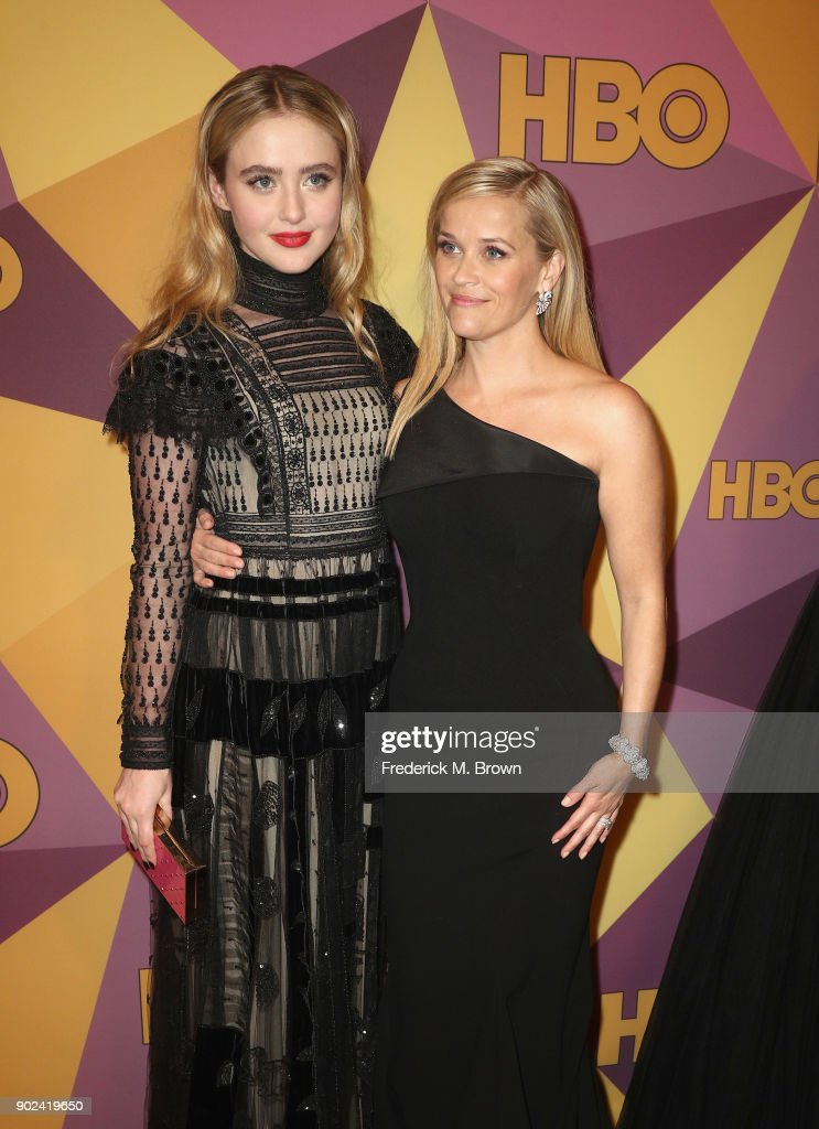 Actor/producer Reese Witherspoon (R) and Kathryn Newton attend HBO's Official Golden Globe Awards After Party at Circa 55 Restaurant on January 7, 2018 in Los Angeles, California.