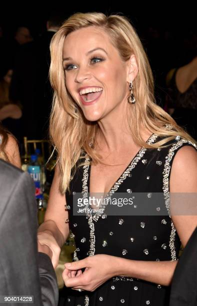 Actor/producer Reese Witherspoon attends The 23rd Annual Critics' Choice Awards at Barker Hangar on January 11 2018 in Santa Monica California