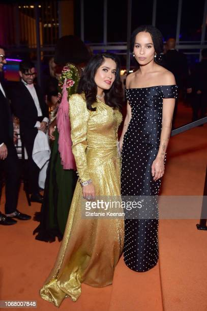 Actorproducer Salma Hayek Pinault wearing Gucci and Zoe Kravitz attend 2018 LACMA Art Film Gala honoring Catherine Opie and Guillermo del Toro...
