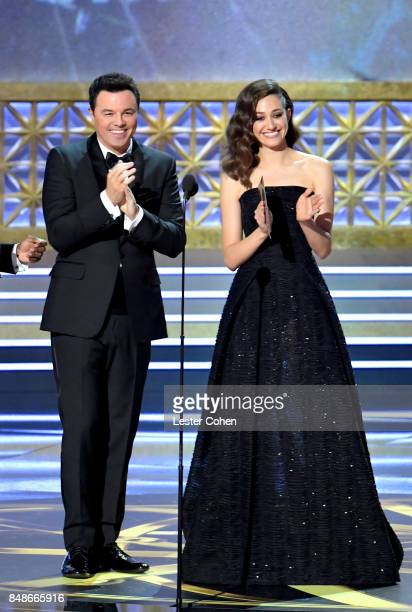 Actorproducer Seth MacFarlane and actor Emmy Rossum applaud onstage during the 69th Annual Primetime Emmy Awards at Microsoft Theater on September 17...