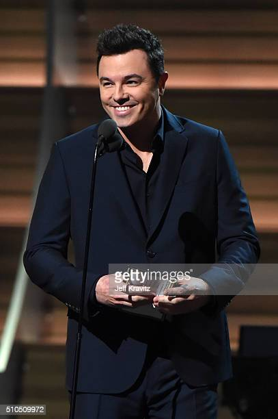 Actor/Producer Seth McFarlane speaks onstage during The 58th GRAMMY Awards at Staples Center on February 15 2016 in Los Angeles California