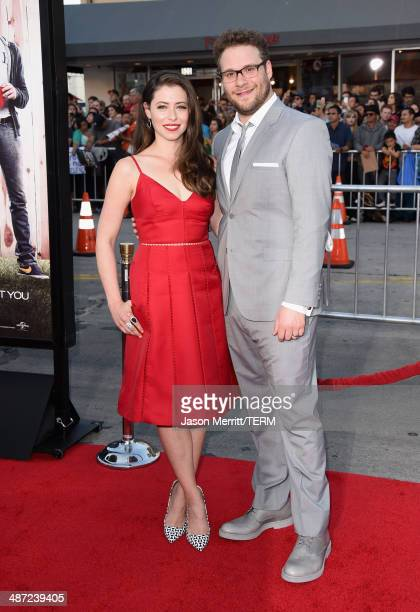 Actor/producer Seth Rogen and Lauren Miller attend Universal Pictures' Neighbors premiere at Regency Village Theatre on April 28 2014 in Westwood...