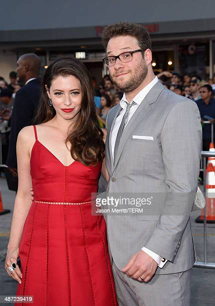 """Actor/producer Seth Rogen and Lauren Miller attend Universal Pictures' """"Neighbors"""" premiere at Regency Village Theatre on April 28, 2014 in Westwood,..."""