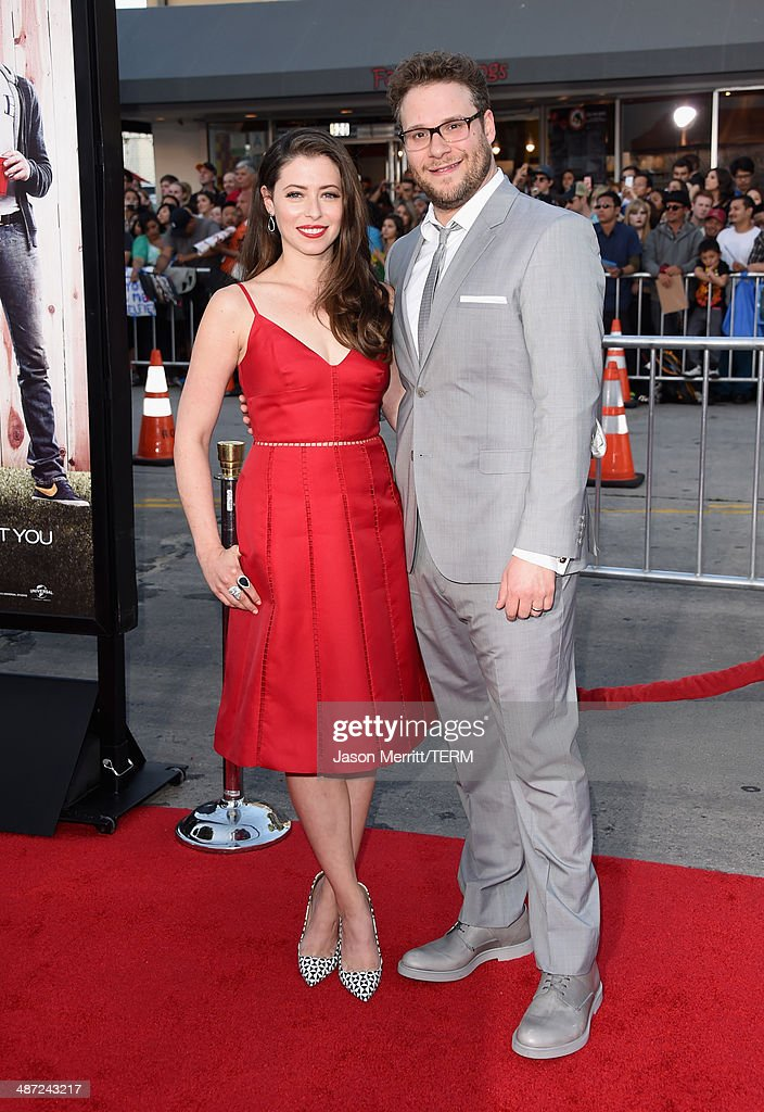 Actor/producer Seth Rogen (R) and Lauren Miller attend Universal Pictures' 'Neighbors' premiere at Regency Village Theatre on April 28, 2014 in Westwood, California.