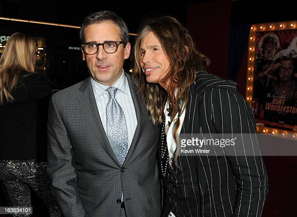 """Actor/producer Steve Carell and musician Steven Tyler attend the premiere of Warner Bros. Pictures' """"The Incredible Burt Wonderstone"""" at TCL Chinese..."""