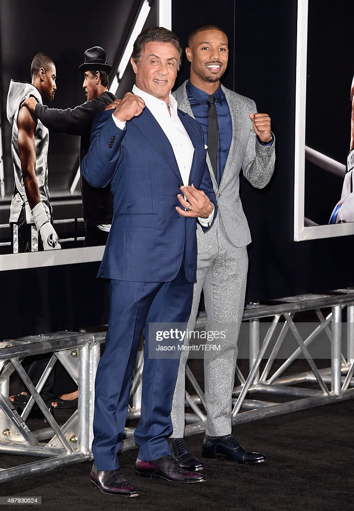 Actor/producer Sylvester Stallone (L) and actor Michael B. Jordan attend Warner Bros. Pictures' 'Creed' Premiere at Regency Village Theatre on November 19, 2015 in Westwood, California.
