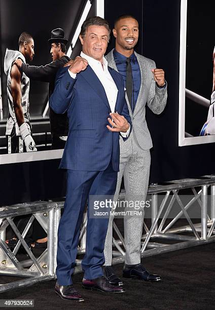Actor/producer Sylvester Stallone and actor Michael B Jordan attend Warner Bros Pictures' Creed Premiere at Regency Village Theatre on November 19...