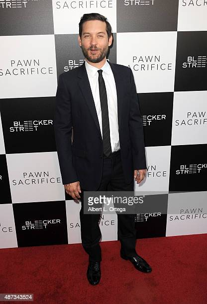 Actor/producer Tobey Maguire arrives for the premiere of Bleecker Street Media's 'Pawn Sacrifice' held at Harmony Gold Theatre on September 8 2015 in...