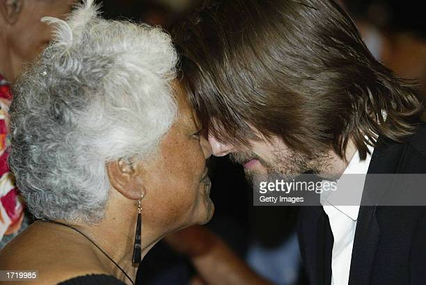 Actor/Producer Tom Cruise receives a hongi the traditional maori welcome from Makere Wano of the Te Huatahi group before a press conference to...