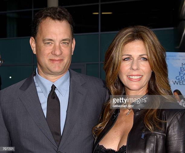 """Actor/producer Tom Hanks arrives with his wife actress Rita Wilson at the premiere of the movie """"My Big Fat Greek Wedding"""" April 15, 2002 in Los..."""