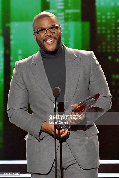 Actor/producer Tyler Perry accepts an award onstage during the People's Choice Awards 2017 at Microsoft Theater on January 18 2017 in Los Angeles...