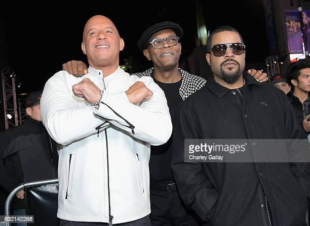 Actor/producer Vin Diesel actor Samuel L Jackson and rapper/actor Ice Cube attend the LA Premiere of the Paramount Pictures title 'xXx Return of...