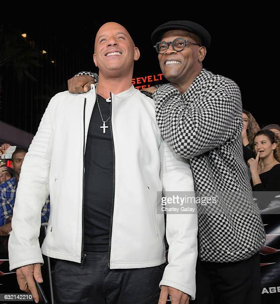Actor/producer Vin Diesel and actor Samuel L Jackson attend the LA Premiere of the Paramount Pictures title 'xXx Return of Xander Cage' at TCL...