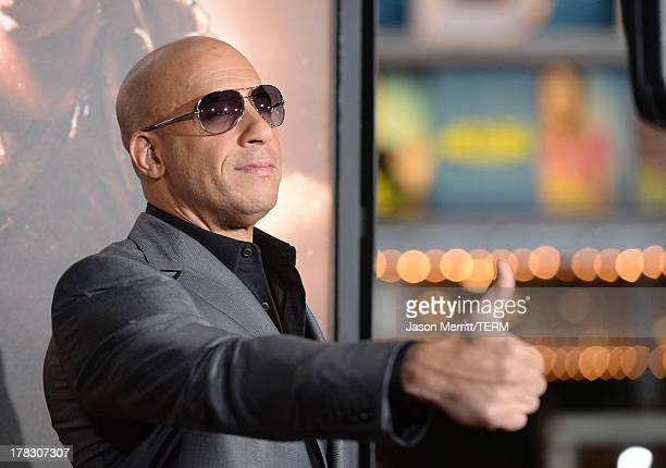 "Actor/producer Vin Diesel arrives at the premiere of Universal Pictures' ""Riddick"" at Mann Village Theatre on August 28, 2013 in Westwood, California."