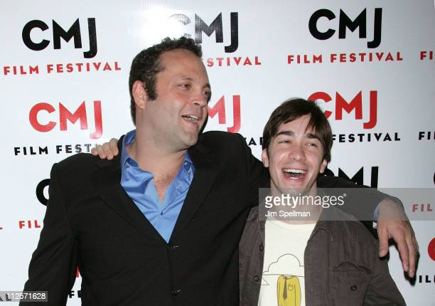 """Actor/Producer Vince Vaughn and Actor Justin Long arrives at """"Vince Vaughn's Wild West Comedy Show"""" at the IFC Center Cafe on October 19, 2007 in New..."""