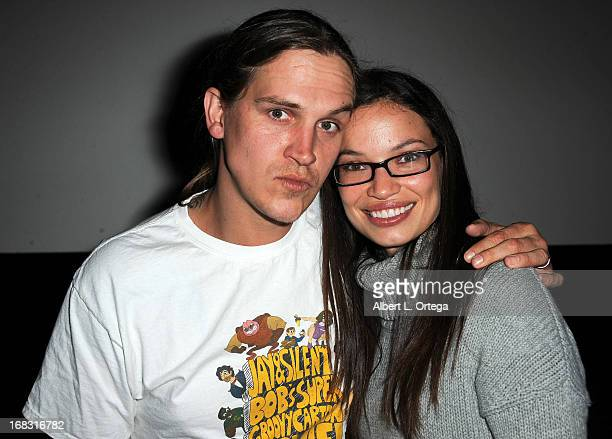 Actor/producerJason Mewes and wife Jordan Monsanto arrive for the Jay Silent Bob's Super Groovy Cartoon Movie held at New Beverly Cinema on May 5...