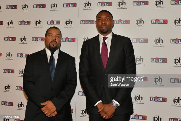 Actor/rapper and BIG3 basketball league founder Ice Cube and BIG3 President and Commissioner Roger Mason Jr attend the 2017 BIG3 draft at Planet...