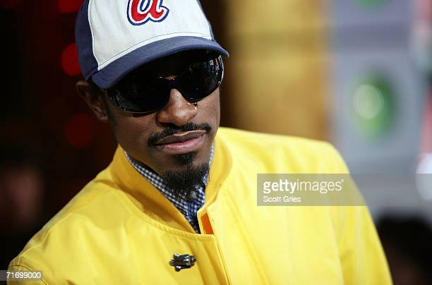Actor/rapper Andre Benjamin of Outkast appears onstage during MTV's Total Request Live at the MTV Times Square Studios on August 22 2006 in New York...