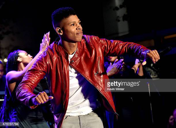 Actor/rapper Bryshere Gray 'Yazz' performs at the Television Academy event for Fox Tv's 'Empire' A Performance Under The Stars at The Grove on May 28...