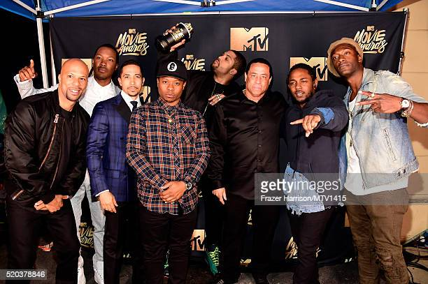 Actor/rapper Common actors Corey Hawkins Neil Brown Jr and O'Shea Jackson Jr DJ Yella of NWA actors Jason Mitchell and Aldis Hodge winners of the...