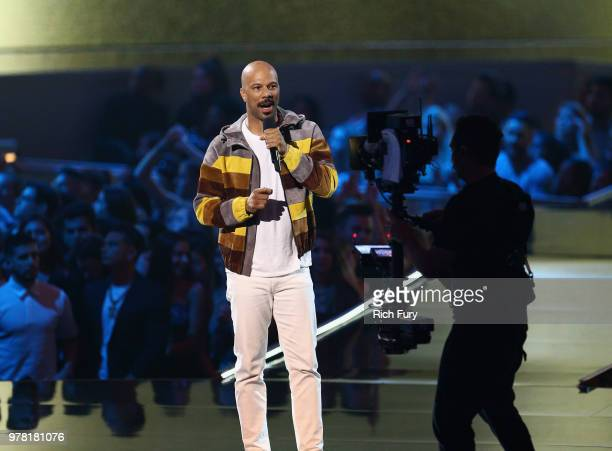 Actor/rapper Common speaks onstage during the 2018 MTV Movie And TV Awards at Barker Hangar on June 16 2018 in Santa Monica California