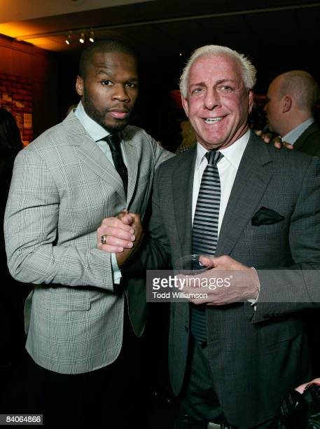 Actor/rapper Curtis '50 Cent' Jackson and Wrestler Ric Flair attend the after party of the Los Angeles premiere of 'The Wrestler' at the Academy Of...