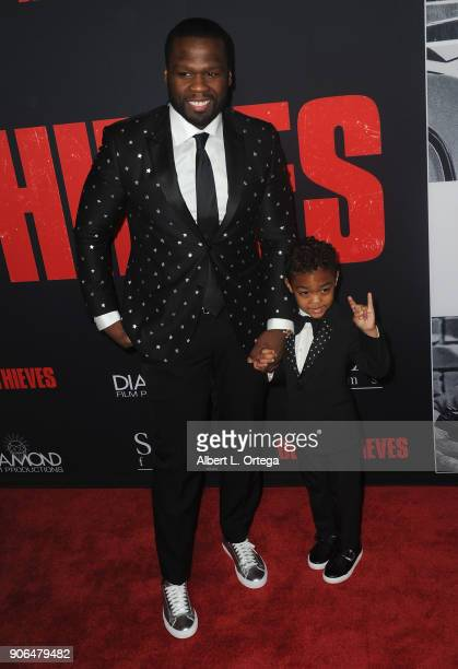 Actor/rapper Curtis Jackson aka 50 Cent and son Sire Jackson arrive for the Premiere Of STX Films' 'Den Of Thieves' held at Regal LA Live Stadium 14...