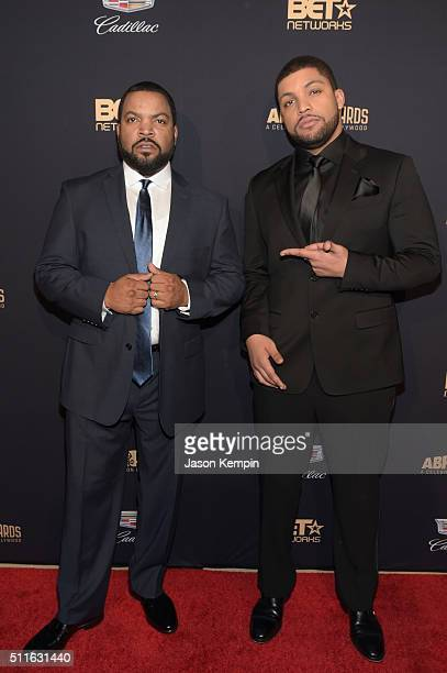 Actorrapper Ice Cube and actor O'Shea Jackson Jr attend the 2016 ABFF Awards A Celebration Of Hollywood at The Beverly Hilton Hotel on February 21...