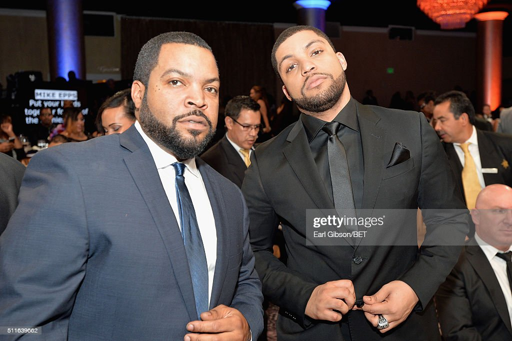 Actor-rapper Ice Cube (L) and actor O'Shea Jackson Jr. in the audience during the 2016 ABFF Awards: A Celebration Of Hollywood at The Beverly Hilton Hotel on February 21, 2016 in Beverly Hills, California.