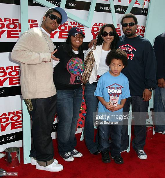 Actor/rapper Ice Cube and his family arrive at the Sony Pictures premiere of the film 'Are We Done Yet' at The Mann Village Theatre April 1 2007 in...