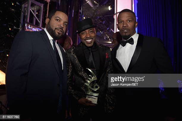 Actorrapper Ice Cube honoree Will Packer and actor Jamie Foxx pose backstage at the 2016 ABFF Awards A Celebration Of Hollywood at The Beverly Hilton...