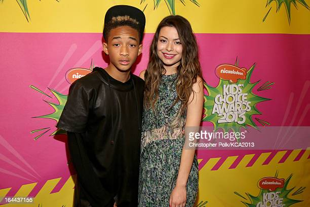 Actor/rapper Jaden Smith and actress Miranda Cosgrove seen backstage at Nickelodeon's 26th Annual Kids' Choice Awards at USC Galen Center on March 23...