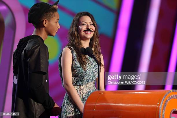 Actor/rapper Jaden Smith and actress Miranda Cosgrove speak onstage during Nickelodeon's 26th Annual Kids' Choice Awards at USC Galen Center on March...