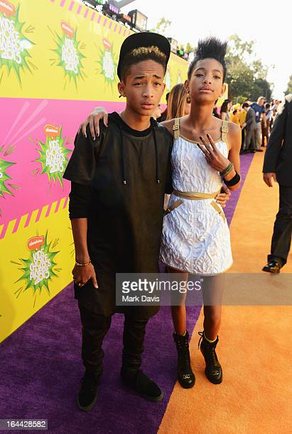 Actor/rapper Jaden Smith and singer/actress Willow Smith arrive at Nickelodeon's 26th Annual Kids' Choice Awards at USC Galen Center on March 23 2013...