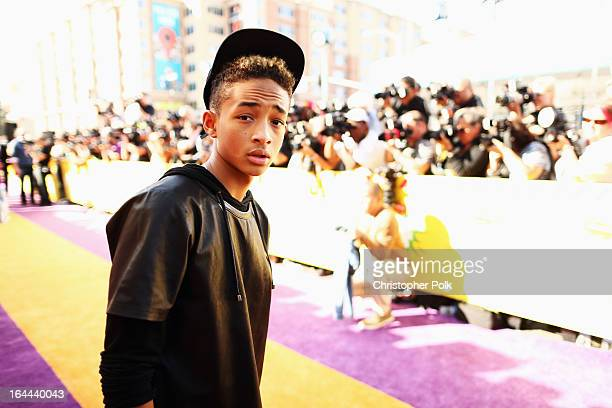 Actor/rapper Jaden Smith arrives at Nickelodeon's 26th Annual Kids' Choice Awards at USC Galen Center on March 23 2013 in Los Angeles California