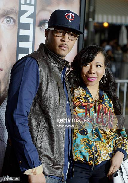 "Actor/rapper T.I. And his wife Tiny arrive at the premiere of Universal Pictures' ""Identity Thief"" at the Village Theatre on February 4, 2013 in Los..."