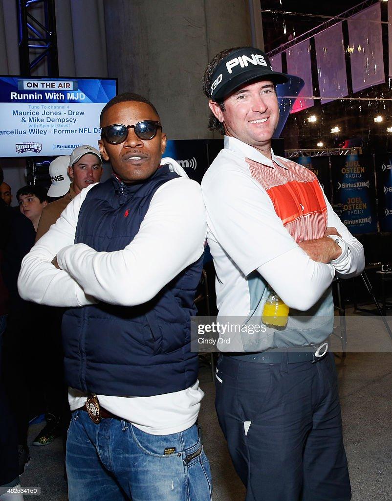 Actor/recording artist Jamie Foxx and professional golfer Bubba Watson attend SiriusXM at Super Bowl XLIX Radio Row at the Phoenix Convention Center on January 30, 2015 in Phoenix, Arizona.